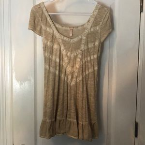 Free People Tunic Taupe Tan Short Sleeve Top S